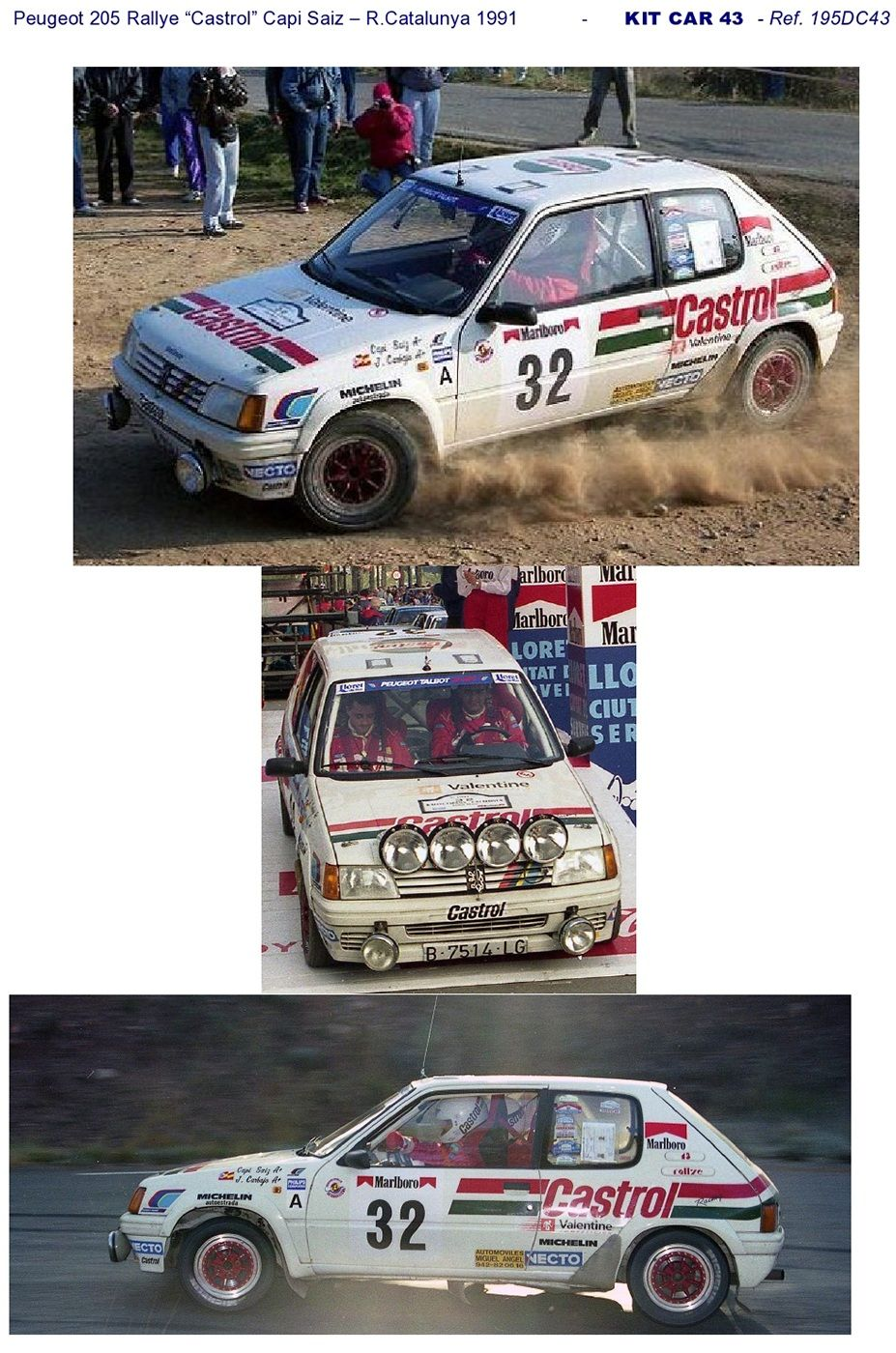 "DECAL CALCA 1//43 PEUGEOT 205 RALLY/""CASTROL/"" C SAIZ RALLY CATALUNYA 1991"